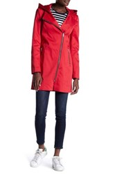 Soia And Kyo Asymmetric Zip Hooded Raincoat Red