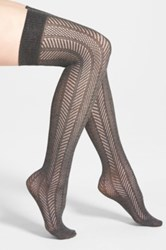 Vince Camuto Openwork Knit Thigh High Socks Gray