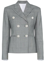 Calvin Klein 205W39nyc Grey Double Breasted Check Blazer
