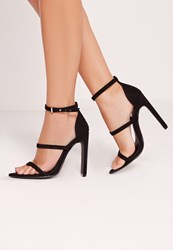 Missguided Pointed Toe Three Strap Barely There Black Beige