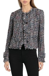 Bagatelle Collarless Tweed Jacket Multi Tweed