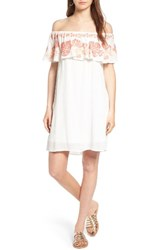 Sun And Shadow Women's Embroidered Off The Shoulder Dress