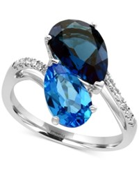 Effy Ocean Bleu By Blue Topaz 5 1 3 Ct. T.W. And Diamond Accent Ring In 14K White Gold