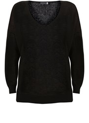 Mint Velvet Black V Neck Side Split Knit Black