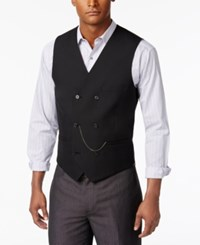 Inc International Concepts I.N.C. Slim Fit Double Breasted Chain Vest Deep Black