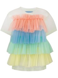 Viktor And Rolf Rainbow Stripes Ruffle Top Yellow
