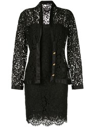 Chanel Vintage Setup Suit Jacket Dress Black