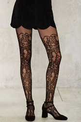 Grapevine Floral Tights Black