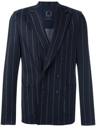 Tonello Double Breasted Pinstriped Blazer Blue