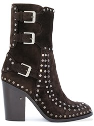 Laurence Dacade Studded Boots Leather Suede Brown