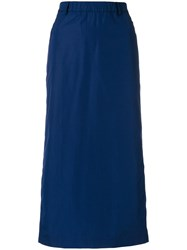 Aspesi Straight Midi Skirt Cotton Blue