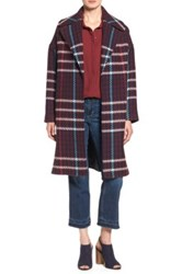 Charles Gray London Grey Plaid Wrap Coat Red
