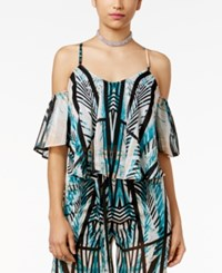 Material Girl Juniors' Printed Cold Shoulder Top Only At Macy's Caviar Black Combo