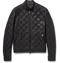 Berluti Quilted Leather Bomber Jacket Midnight Blue