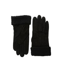 Lauren Ralph Lauren Suede Shearling Thinsulate Gloves Black Dress Gloves