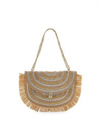 Eric Javits Tiki Fringe Chain Pouch Bag Brown Silver