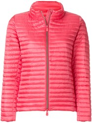 Save The Duck Padded Zipped Jacket Pink And Purple