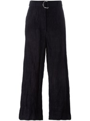 Hache Belted Wide Leg Trousers Blue