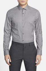 Men's Big And Tall Calibrate Trim Fit Gingham Sport Shirt Grey Shade Gingham