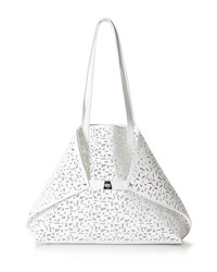 Akris Ai Medium Laser Cut Leather Messenger Bag White