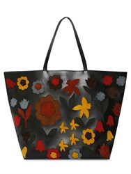 Red Valentino Floral Suede Intarsia Leather Tote Bag