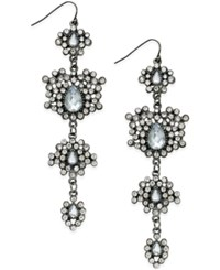 Bar Iii Hematite Tone Pave Flower Statement Drop Earrings Only At Macy's