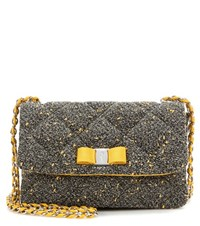 Salvatore Ferragamo Gelly Quilted Fabric Shoulder Bag Black