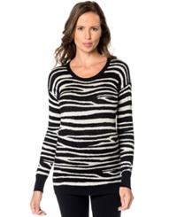 A Pea In The Pod Maternity Animal Print Silk Cashmere Sweater Zebra Print