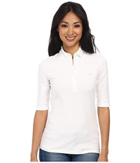Lacoste Half Sleeve Slim Fit Stretch Pique Polo Shirt White Women's Short Sleeve Knit