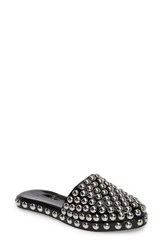 Jeffrey Campbell Women's Rosebays Studded Mule Black Silver Patent Leather