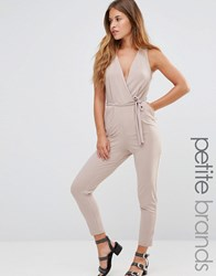 New Look Petite V Neck Jumpsuit Cream
