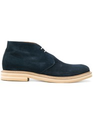 Eleventy Lace Up Boots Suede Leather Rubber Blue