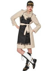 Moschino Silk Chemise And Cotton Canvas Trench Coat Beige Black
