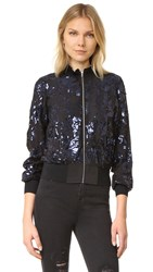 Rebecca Taylor Sequin Bomber Jacket Black Navy