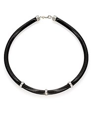 Alor Diamond Stainless Steel And 18K White Gold Coil Necklace Black