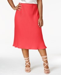 Ny Collection Plus Size Pleated Midi Skirt Coral Foldedfan