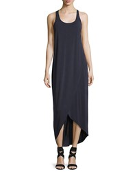 Nic Zoe Boardwalk Sleeveless Faux Wrap Knit Dress Washed Midnight Navy