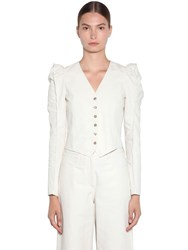 Kenzo Cropped Soft Linen Drill Jacket Ivory