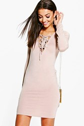 Boohoo Seline Lace Up Detail Bodycon Mini Dress Stone