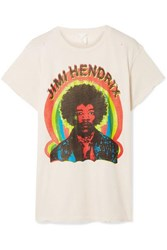 Madeworn Hendrix Printed Cotton Jersey T Shirt Cream