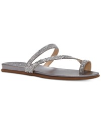 Vince Camuto Evina Jeweled Flat Sandals Women's Shoes Radient Silver