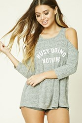 Forever 21 Busy Doing Nothing Nightdress Heather Grey Cream
