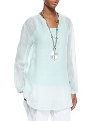 Eileen Fisher Long Sleeve Split Neck Tunic Women's Aurora
