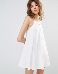 Mango Cami Frill Hem Dress White