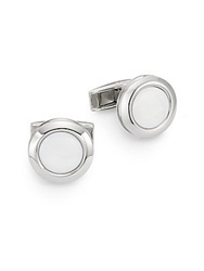 Colibri Hampton Mother Of Pearl And Stainless Steel Cuff Links Silver White