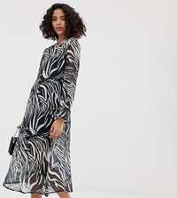 Reclaimed Vintage Inspired Midi Sheer Smock Dress In Animal Print Multi