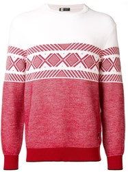 Z Zegna Techmerino Colour Block Jumper Red