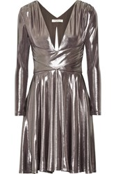 Halston Heritage Draped Stretch Lame Mini Dress Gunmetal