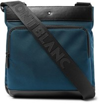 Montblanc Nightflight Leather Trimmed Canvas Messenger Bag Navy