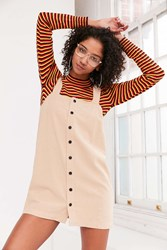 Cooperative Straight Neck Button Front Mini Dress Taupe